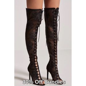 Forever 21 | Lace Peep-toe Over Knee Boots
